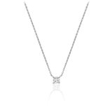 Necklace for woman - 10K white gold & Solitaire diamond T.W. 0.08 carats