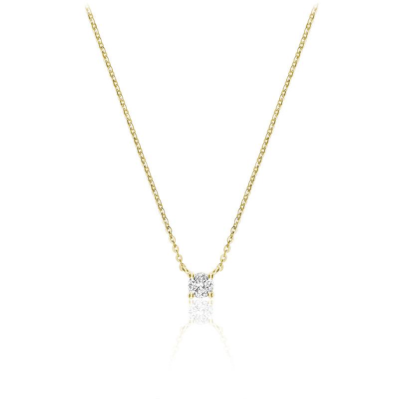 Collier pour femme - Or jaune 10K & Diamant solitaire de 8pts
