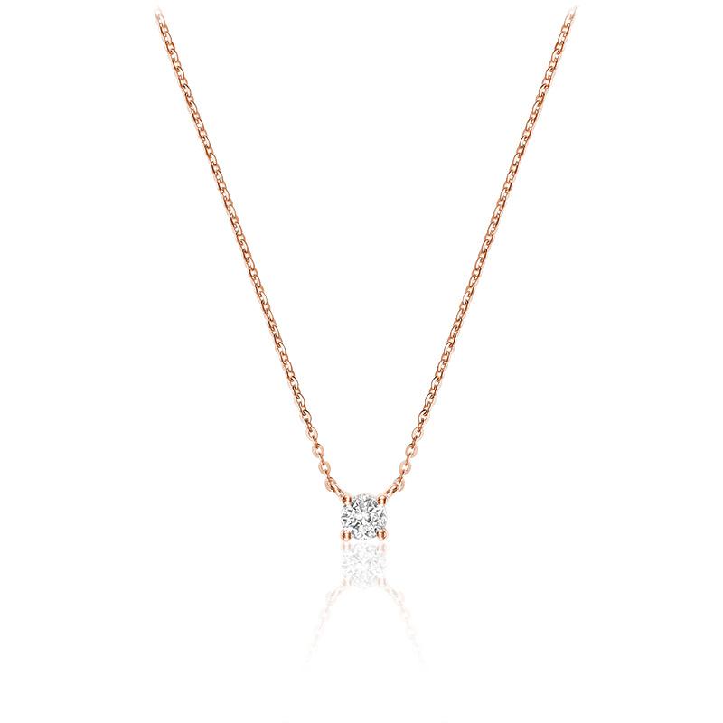 Collier pour femme - Or rose 10K & Diamant solitaire