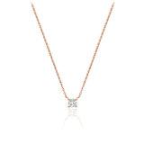 Collier pour femme - Or rose 10K & Diamant solitaire de 0.08 Carat