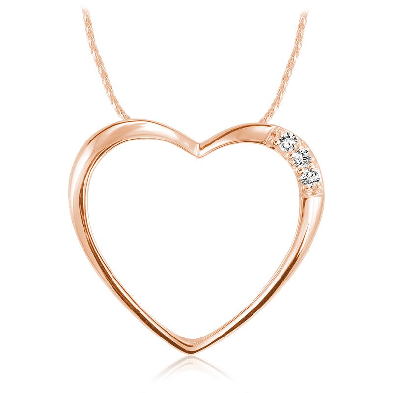 Pendentif coeur pour femme - Or rose 10K & Diamants