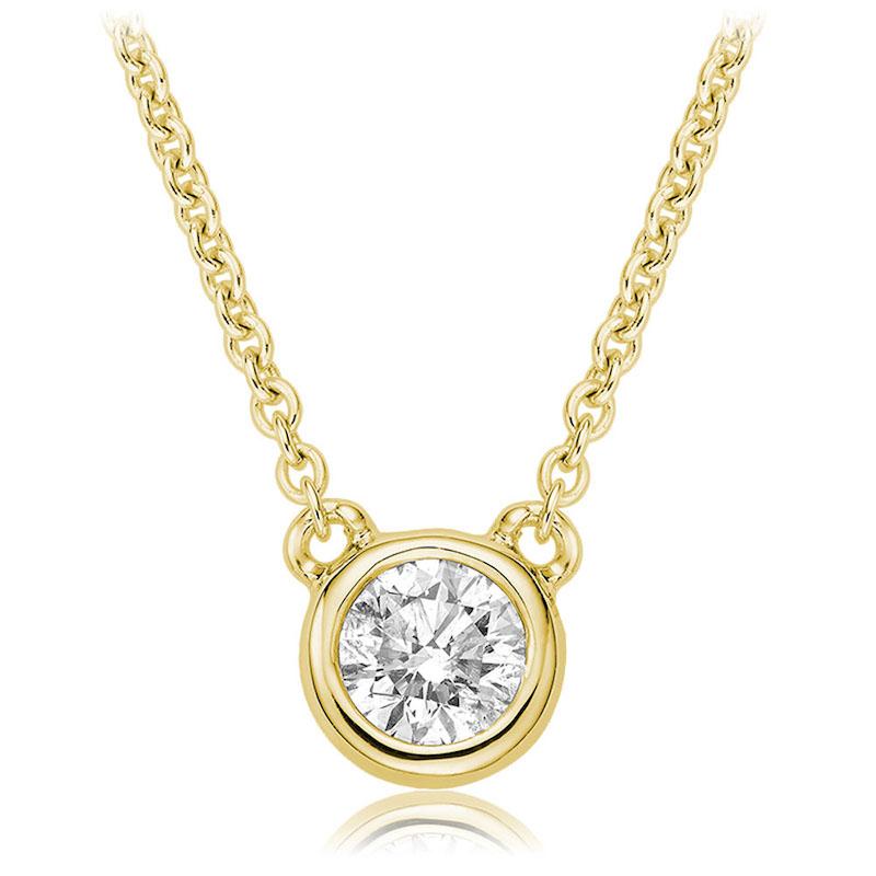 Collier pour femme - Or jaune 10K & Diamant solitaire