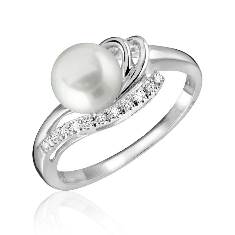 Bague pour femme -  Or blanc 10K & Diamants totalisant 0.06 Carat avec perle de culture