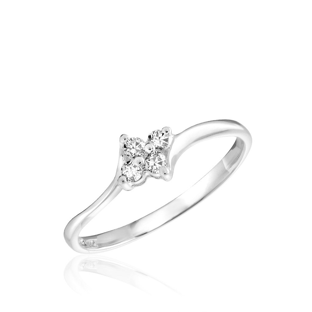 Ring for woman - 10K white gold & Diamonds T.W. 0.10 Carats
