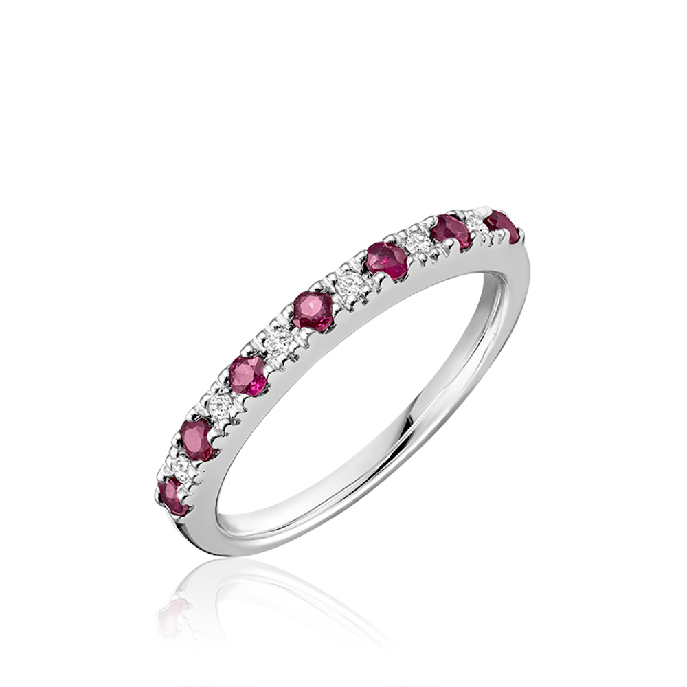 Ring for woman - 10K white gold with diamonds & rubies