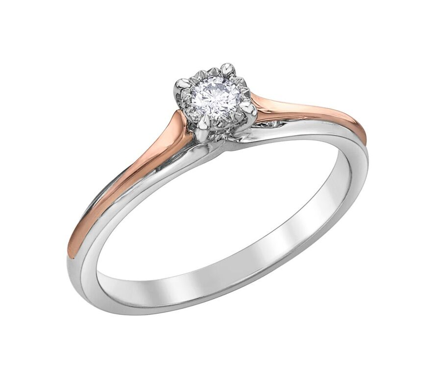 Éclat du Nord ring for woman - 10K 2-tone gold (rose & white) & Solitaire Canadian diamond T.W. 0.10 Carat