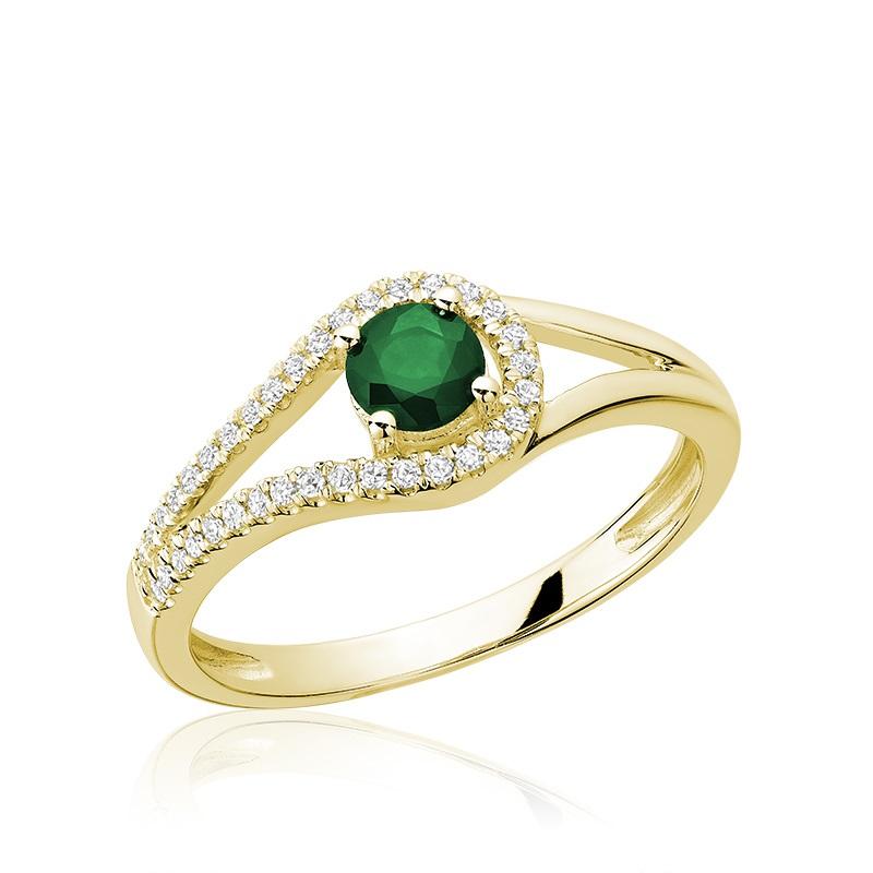 Bague pour femme - Or jaune 10K avec diamants et émeraude