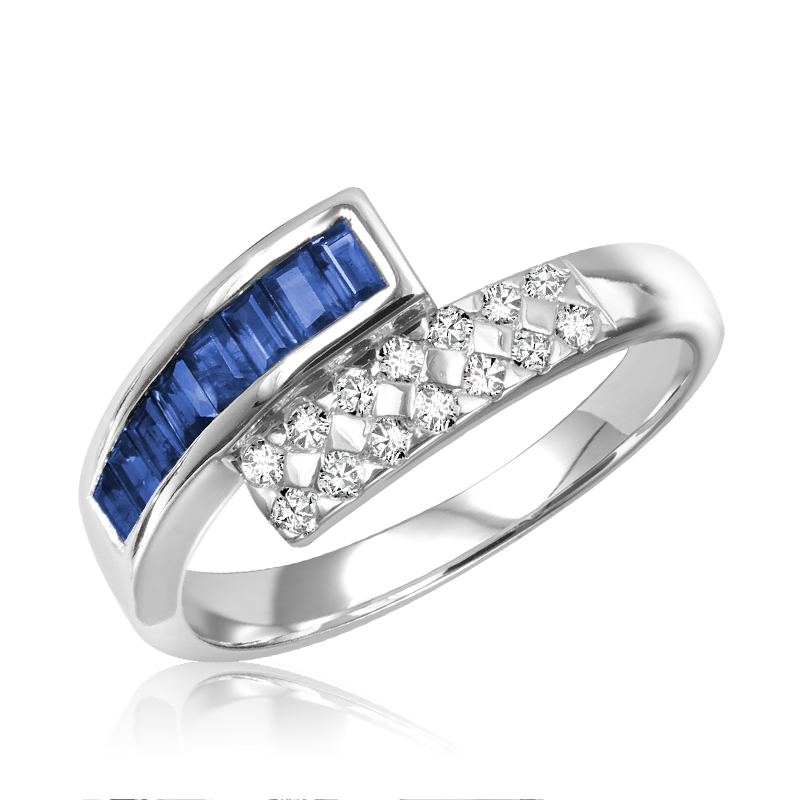 Ring for woman - 10K white gold with diamonds & sapphires