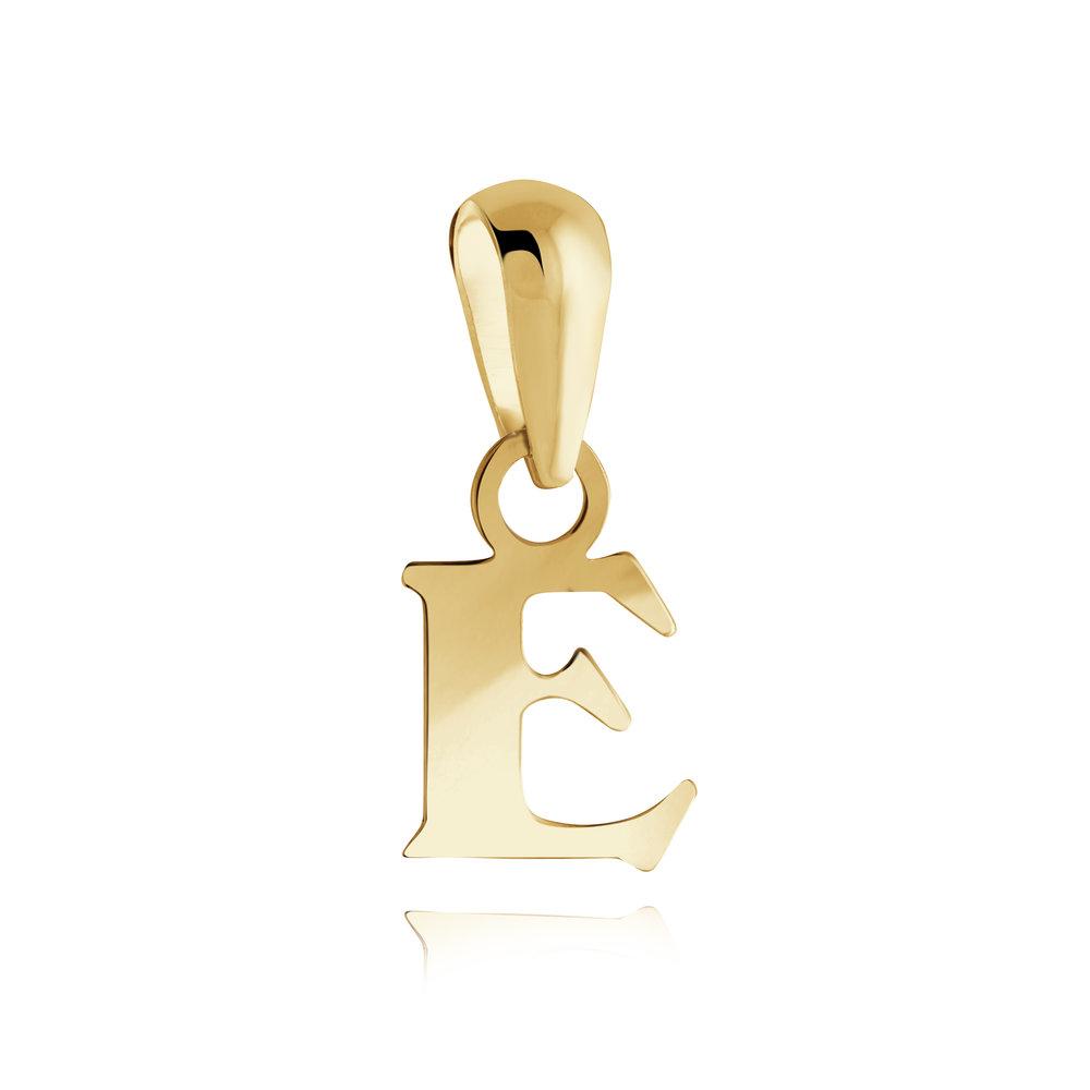 Pendentif lettre ''E'' pour enfant - Or jaune 10K
