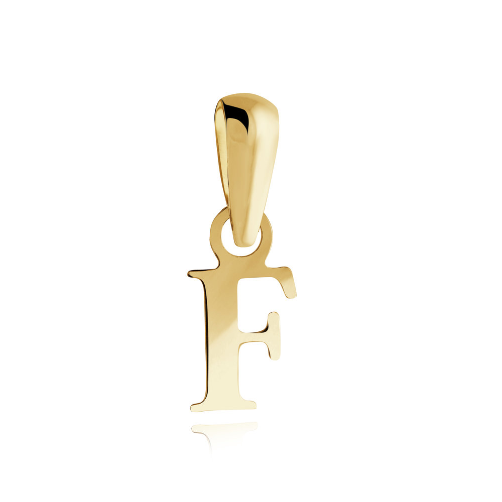Letter ''F'' pendant for child - 10K yellow Gold