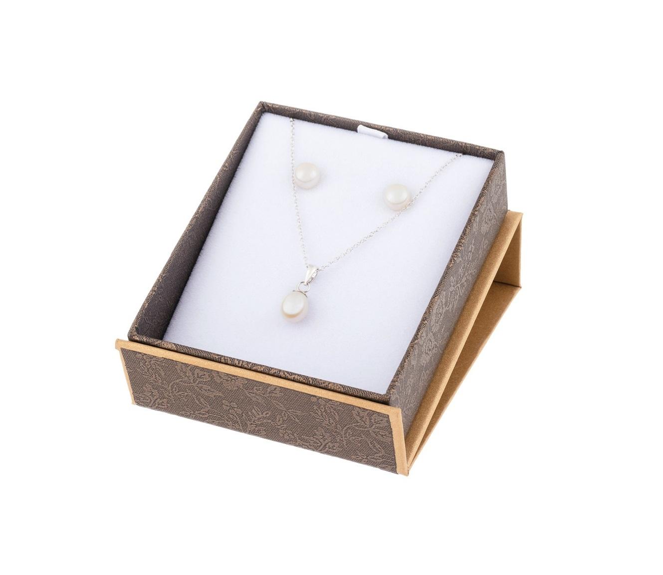 Ensemble pendentif et boucles d'oreilles à tiges fixes pour femme - Argent sterling & Perles d'eau douce
