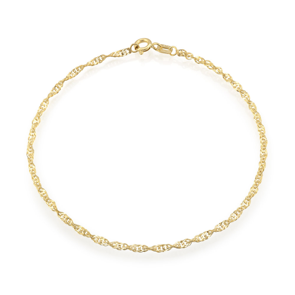 Bracelet singapour 7.5'' pour femme - Or jaune 10K