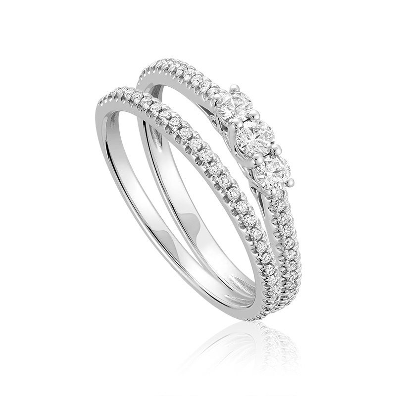Half-eternity wedding set for woman - 10K white gold & Diamonds