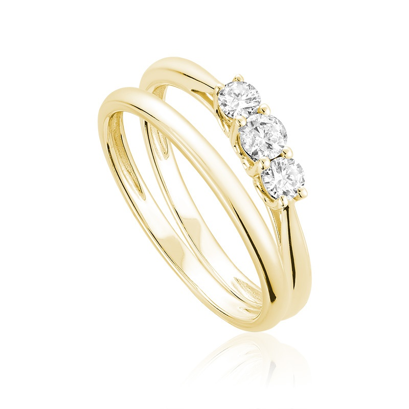 Trinity wedding set for woman - 10K yellow gold & diamonds