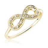 Bague infini pour femme - Or jaune 10K & Diamants totalisant 0.07 Carat