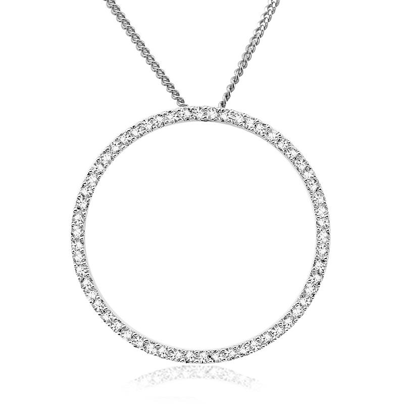 Circle of life pendant for woman - 10K white gold & Diamonds - 18