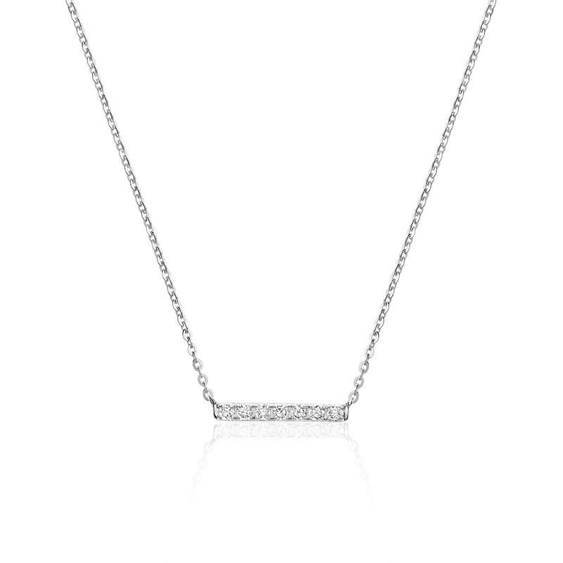 Collier pour femme - Or blanc 10K & Diamants