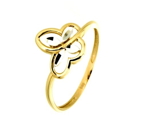 Butterfly ring for woman - 10K 2-tone gold
