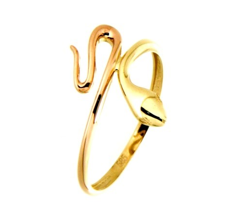 Snake ring for woman - 10K 2-tone gold (Yellow & Rose)