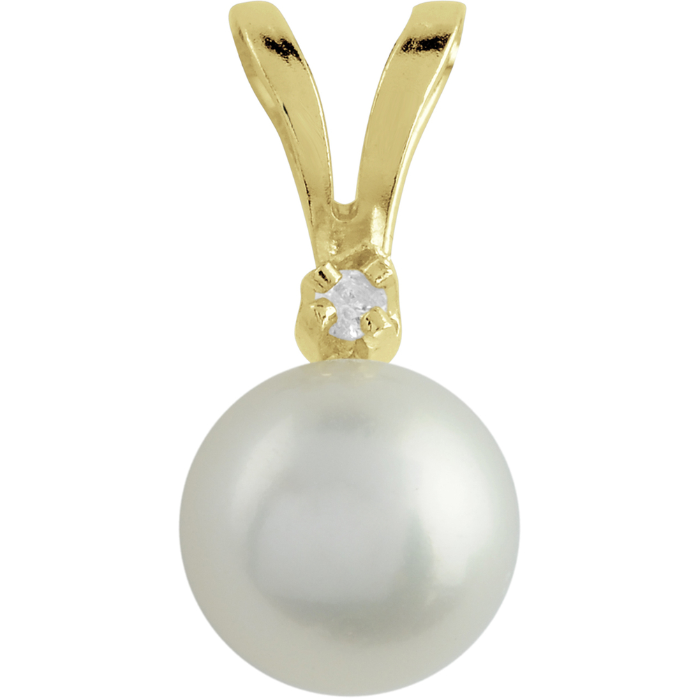 Pendant Cultured Pearl 5.5-6mm for women - 14K yellow Gold & 1pt diamond