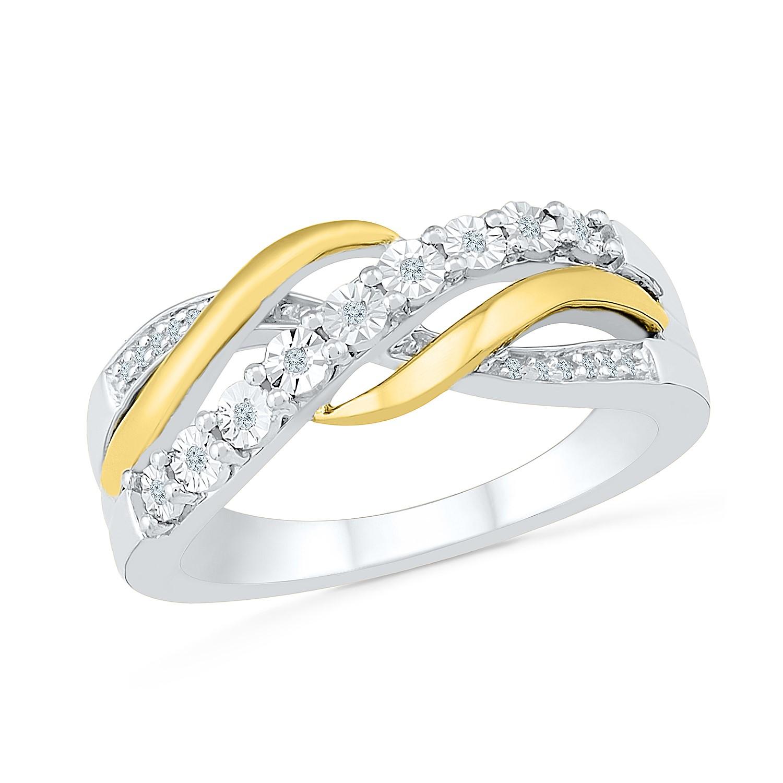 Bague pour femme - Or 2-tons 10K  & Diamants