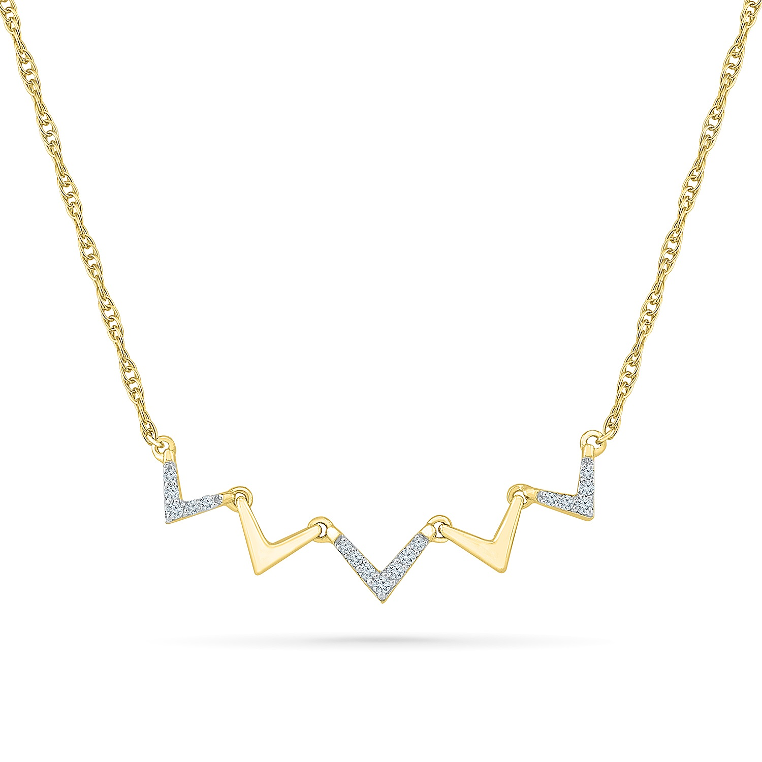 Necklace for woman - 10K yellow gold & Diamonds T.W. 0.12 Carat