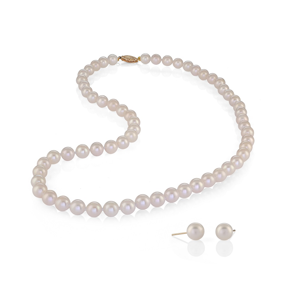 Necklace and stud Earrings set for woman - 14K yellow gold & White Cultured Pearls