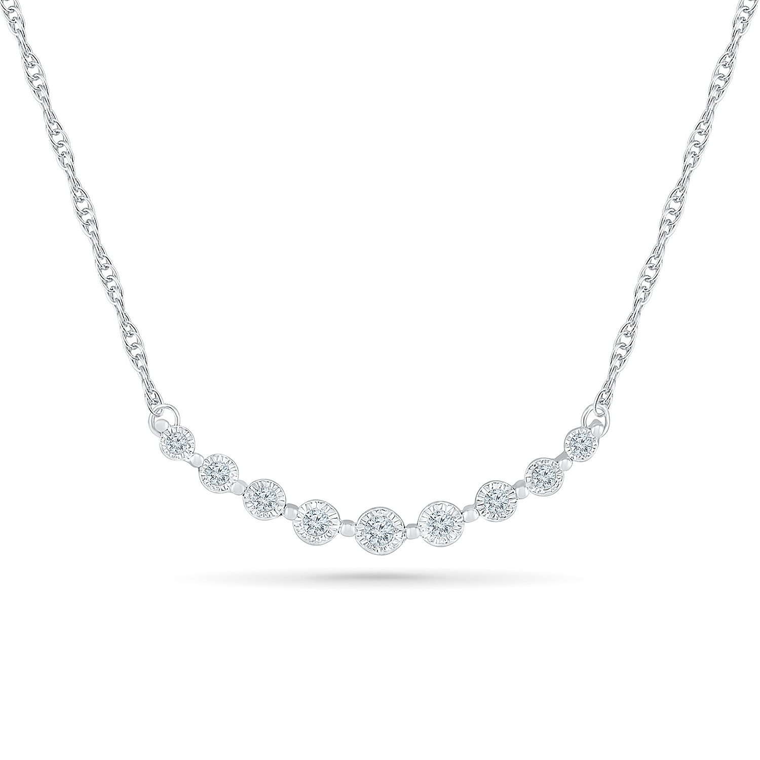Necklace for woman - 10K white gold & Diamonds T.W. 0.20 Carat
