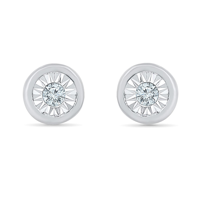 Boucles d'oreilles à tiges fixes pour femme - Or blanc 10K & Diamants totalisant 5pts.