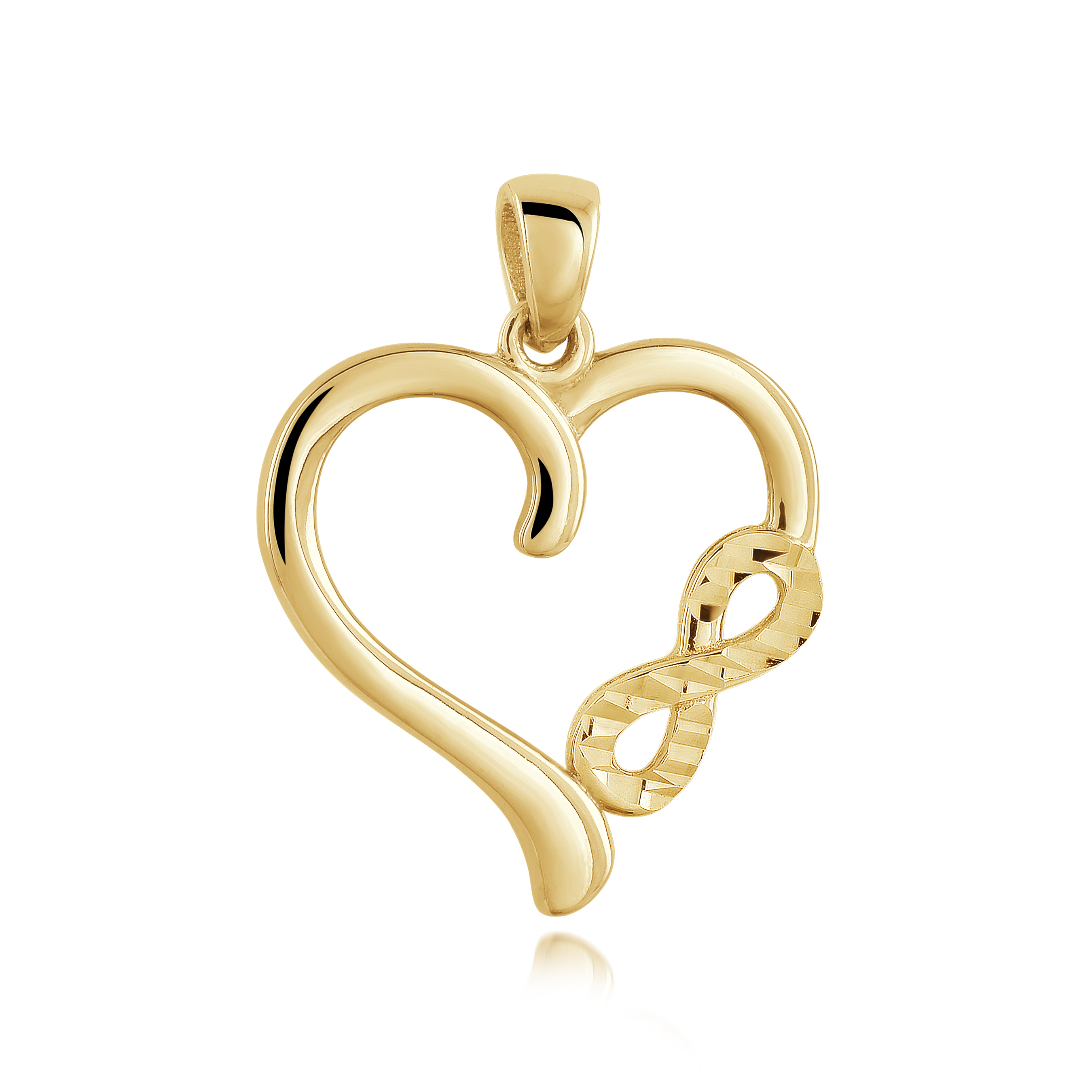 Heart & infinity pendant for woman - 10K yellow gold