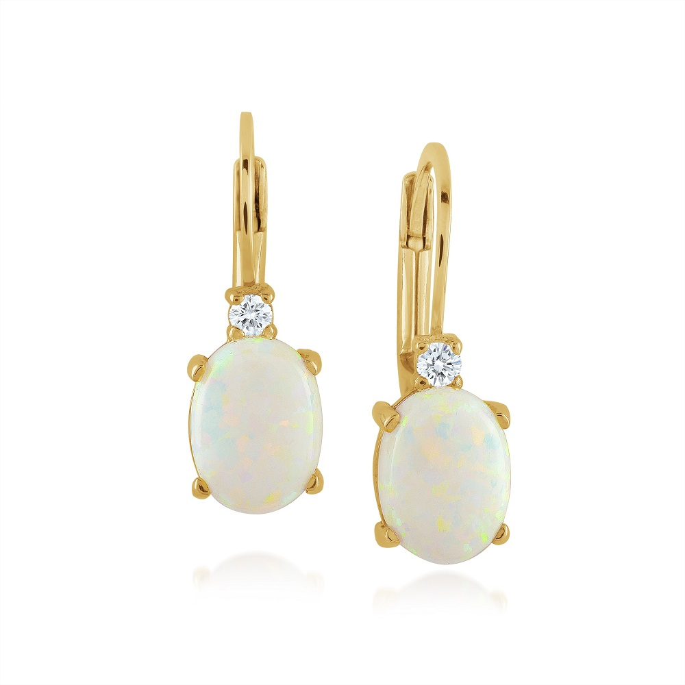 Boucles d'oreilles pour femme - Or jaune 10K avec zircons cubiques & Opale