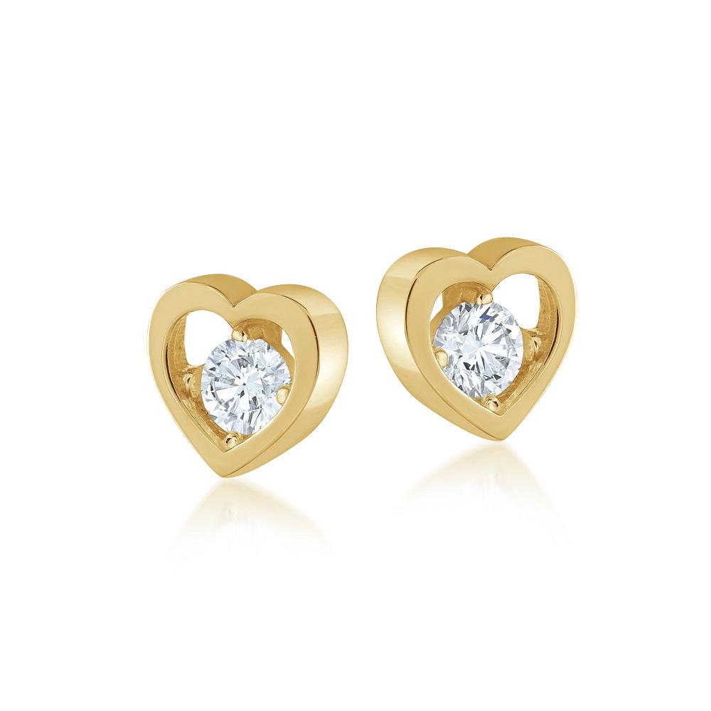 Boucles d'oreilles coeurs pour femme - Or jaune 10K & Zircons cubiques
