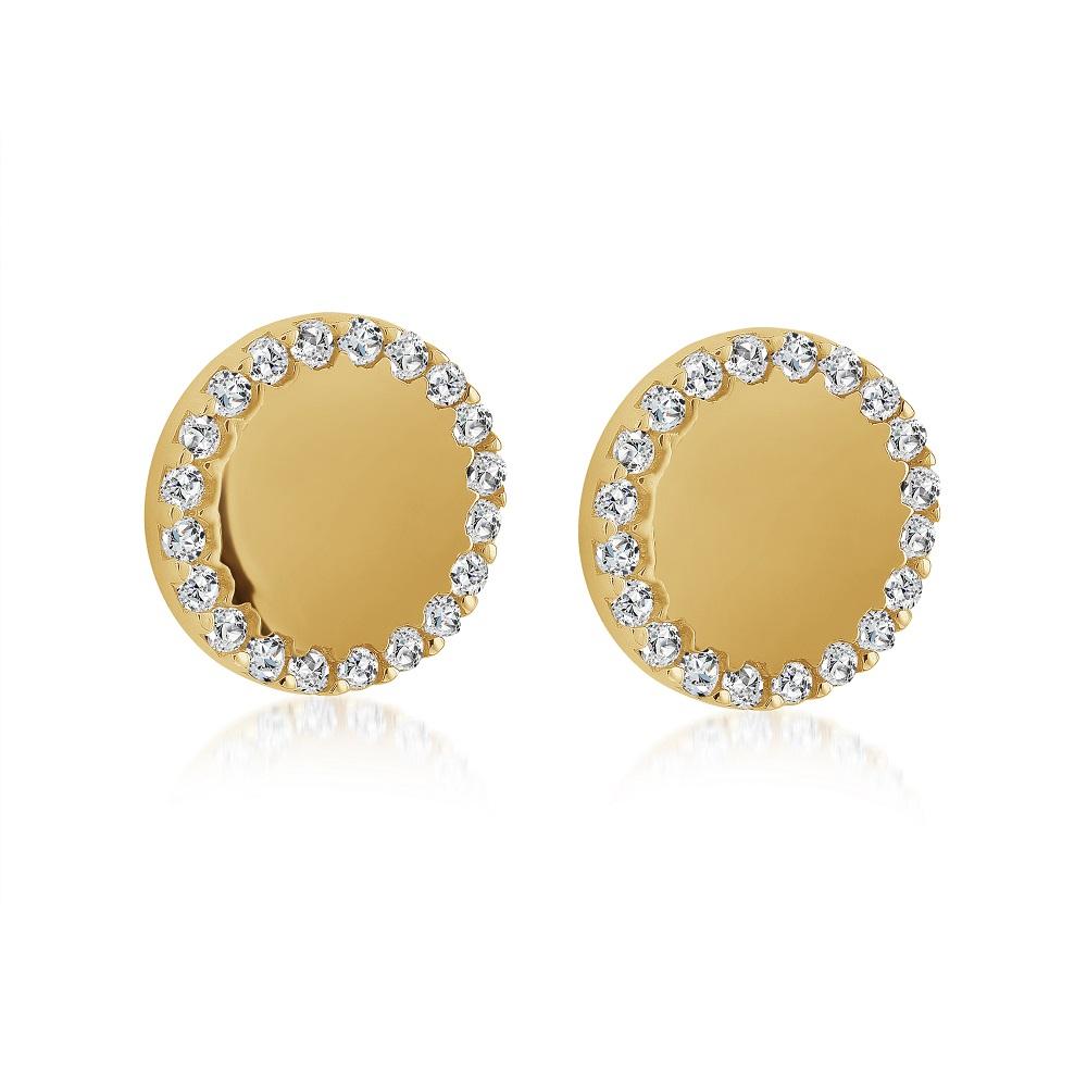 Boucles d'oreilles pour femme - Or jaune 10K & Zircons cubiques