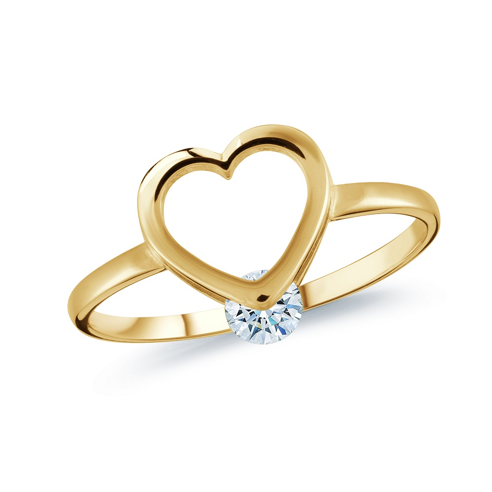 Heart ring for woman - 10K yellow gold & Cubic zirconia