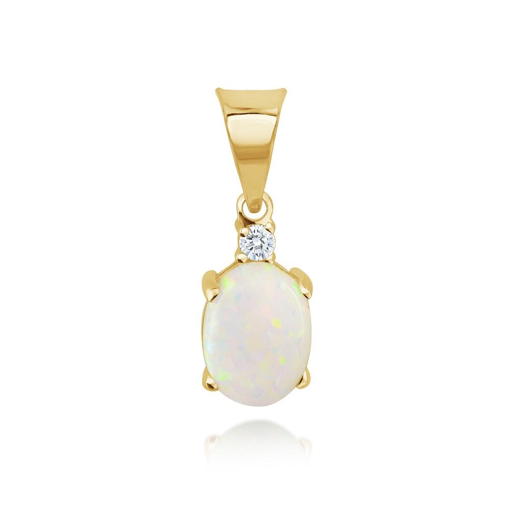 Pendentif pour femme - Or jaune 10K avec zircons cubiques & Opale