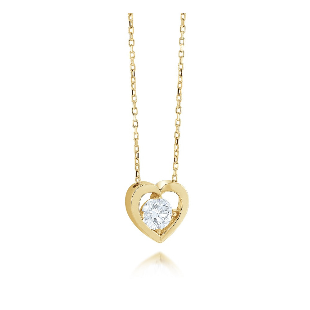 Heart pendant for woman - 10K yellow gold & Cubic zirconia - necklace included