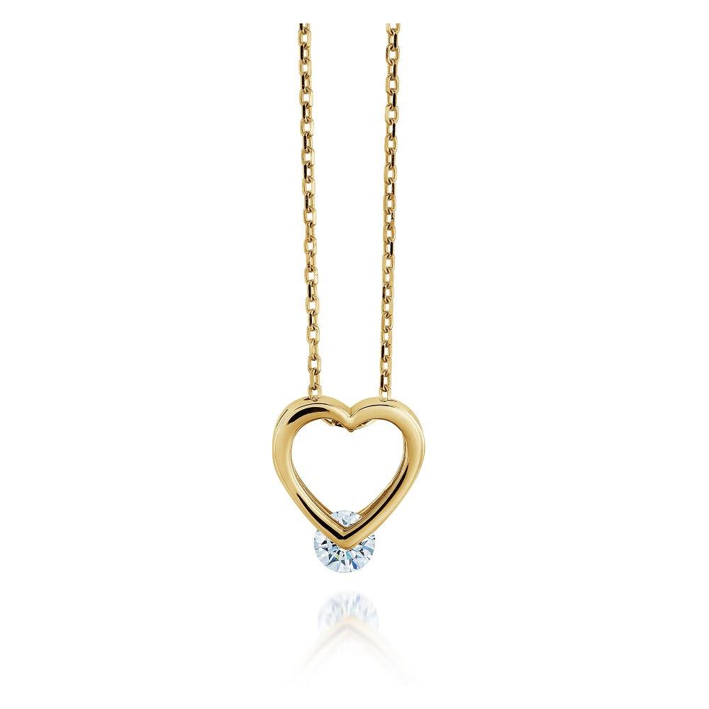 Pendentif coeur pour femme - Or jaune 10K & Zircon cubique