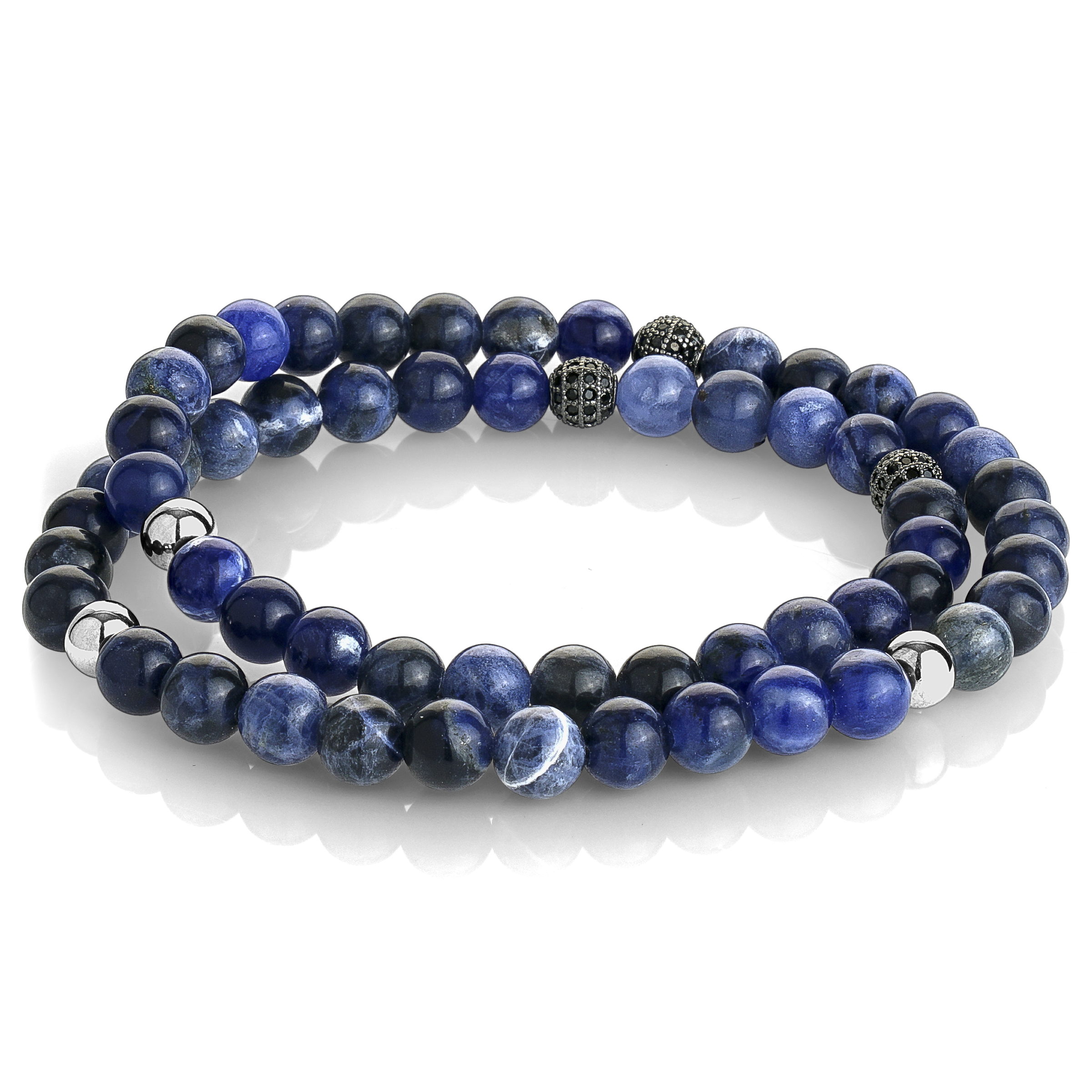 Double loop bracelet for man - Stainless steel & Blue beads