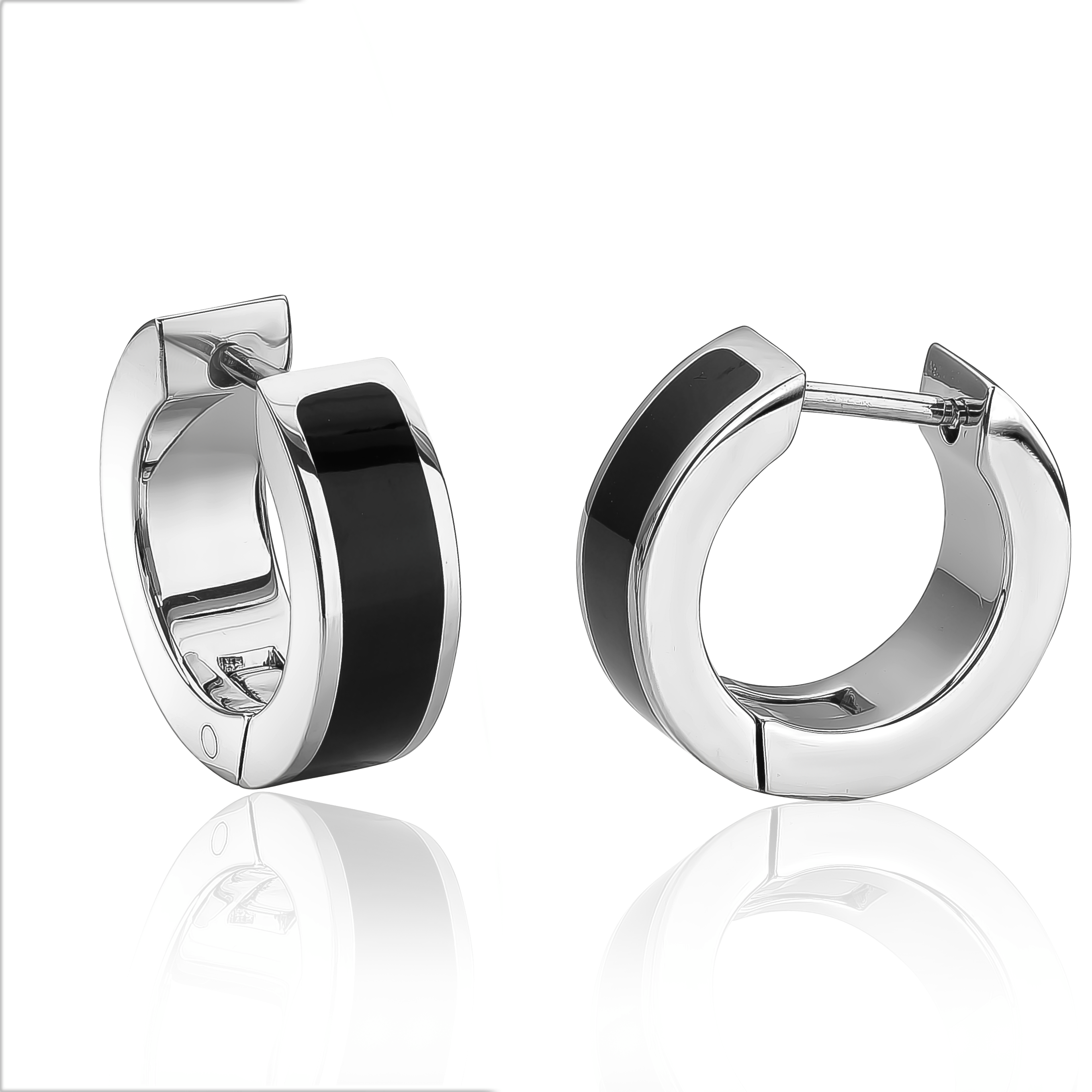 Huggies earrings for woman - 2-tone stainless steel
