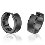 Huggies earrings for woman - Black stainless steel