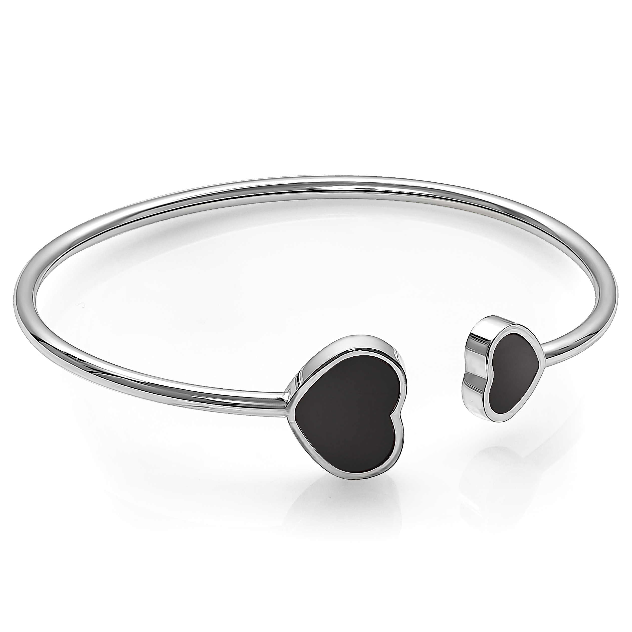 Heart bangle for woman - 2-tone Stainless steel