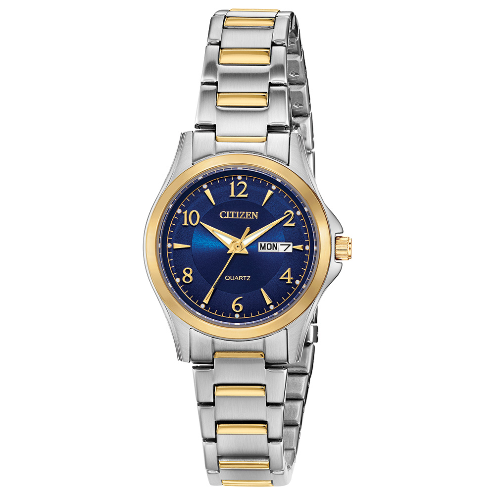quartz watch for woman - 2-tone stainless steel & Blue dial