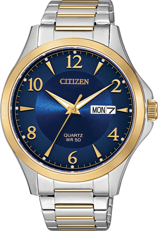 quartz watch for man - 2-tone stainless steel & Blue dia