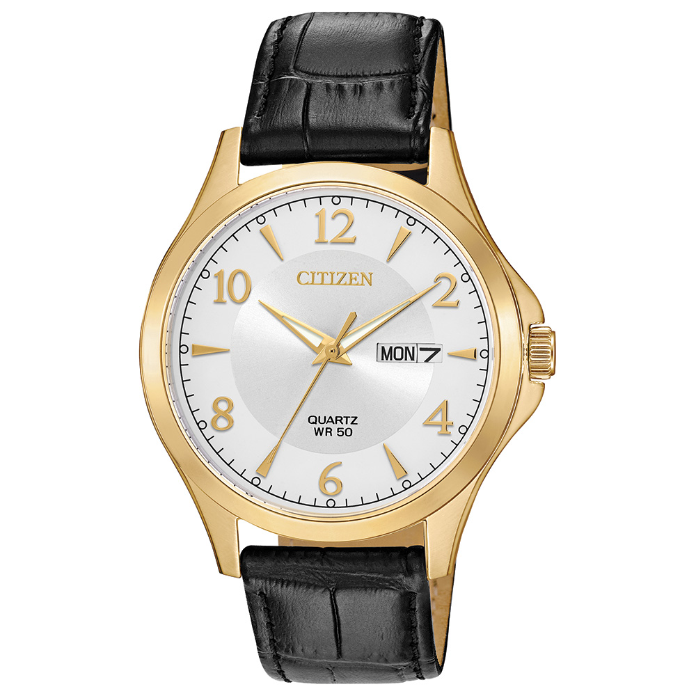 quartz watch for man - Golden stainless steel & Silver-tone dial