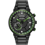 Eco-Drive watch for man - Black stainless steel & Black dial