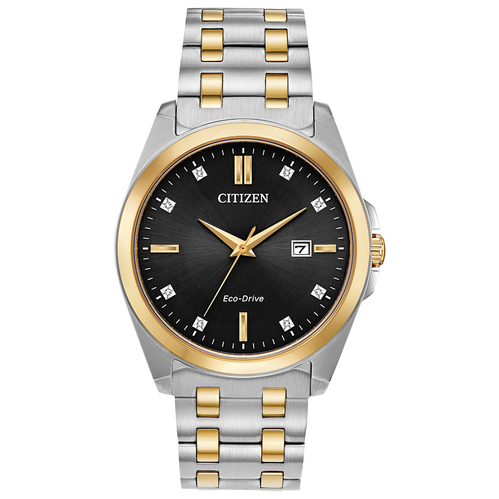 Eco-Drive watch for man - 2-tone stainless steel & Black dial