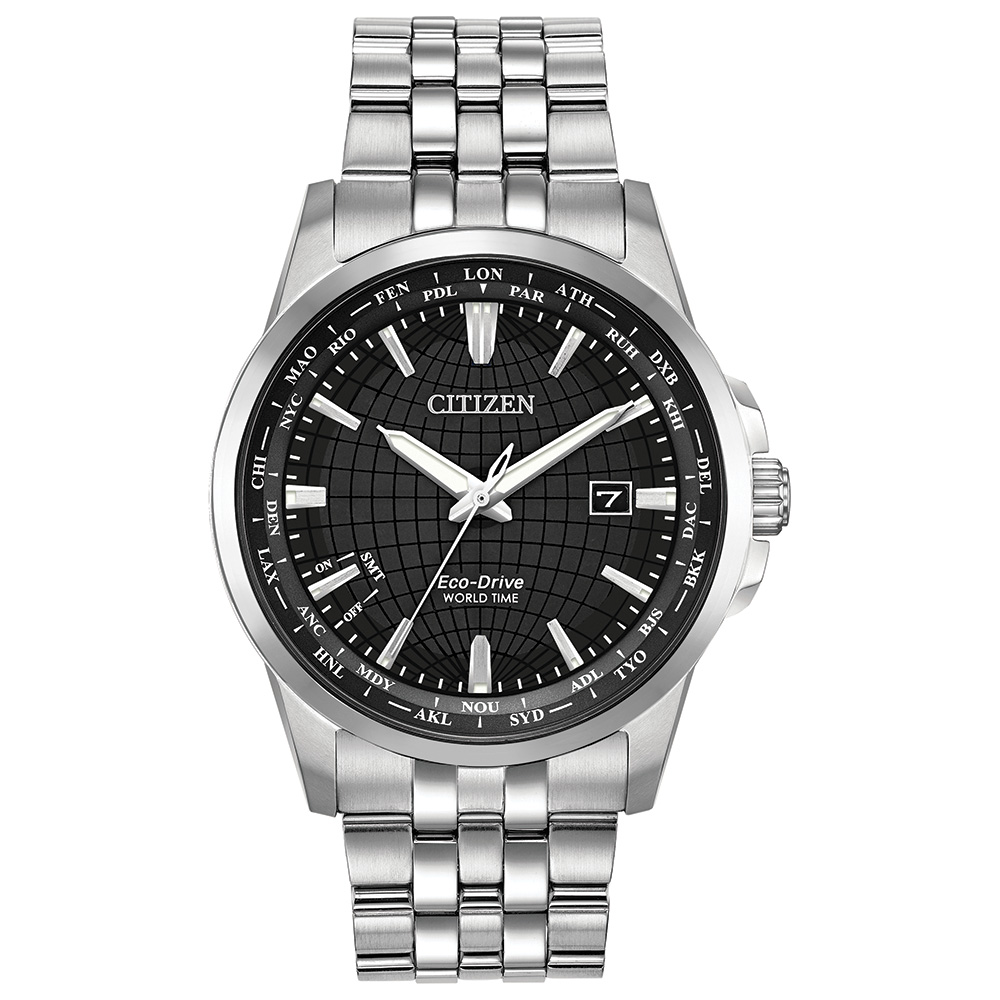 Eco-Drive watch for man - Stainless steel & Black dial