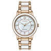 Eco-Drive watch for woman - Rose gold-tone stainless steel & Mother-of-pearl dial