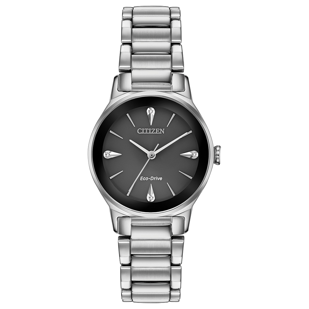 Eco-Drive watch for woman - Stainless steel & Black dial