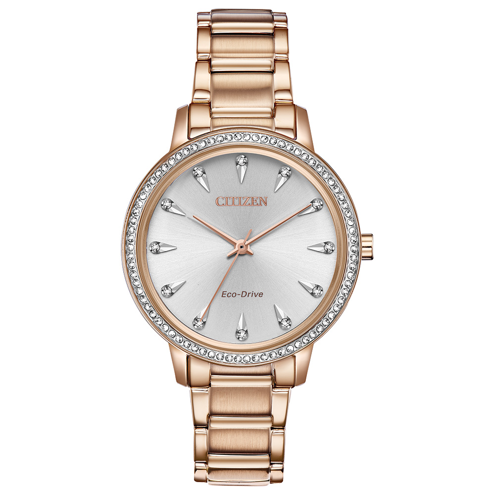 Eco-Drive watch for woman - Rose gold-tone stainless steel & Silver-tone dial